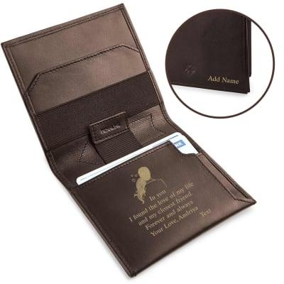 Personalized Brown Slim Wallet