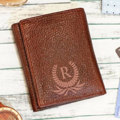 Personalized Brown Tri-fold Leather Wallet