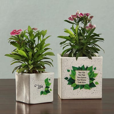 Personalized Ceramic Planters Set
