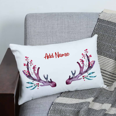Personalized Christmas Reindeer Cushion with Filler