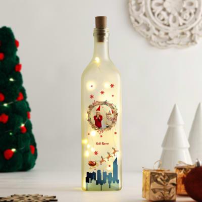 Personalized Christmas Theme Yellow Led Bottle