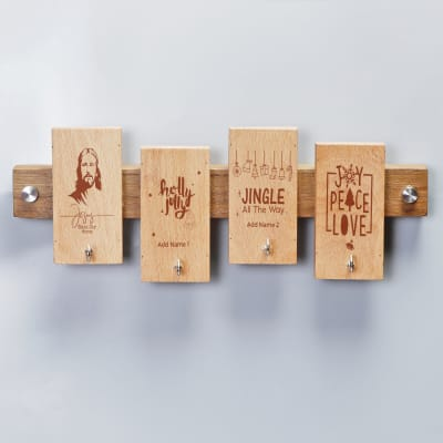 Personalized Christmas Themed Wooden Key Holder