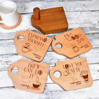 Personalized Coffee Lover Wooden Coasters with Coaster Holder - Set of 4