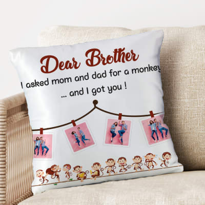 Personalized Collage Photo Cushion for Brother
