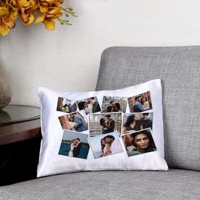 Personalized collage Satin Cushion