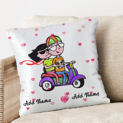 Personalized Cushion in Satin with Cute Print
