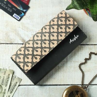 Personalized Dabu Print Leather Clutch