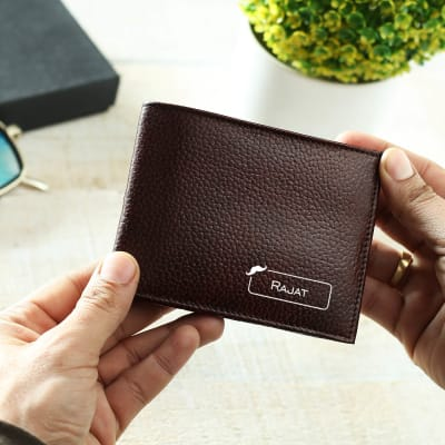 Personalized Dark Brown Leather Wallet for Men