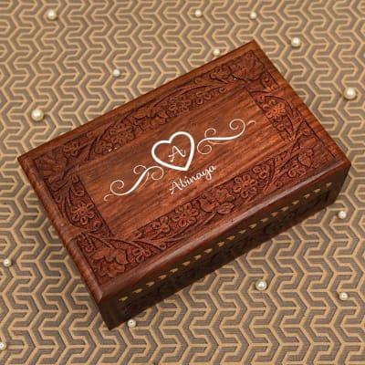 Personalized Designer Handcrafted Sheesham Wood Jewellery Box
