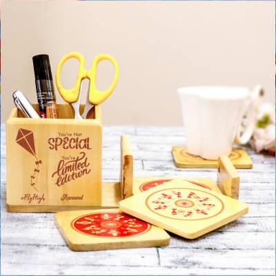 Personalized Desk Organizer with Set of 4 Warli Coasters