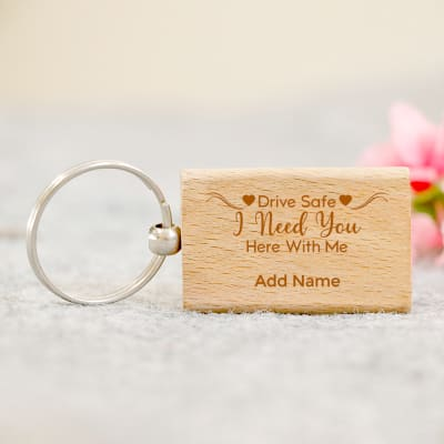 Personalized Drive Safe Wooden Keychain