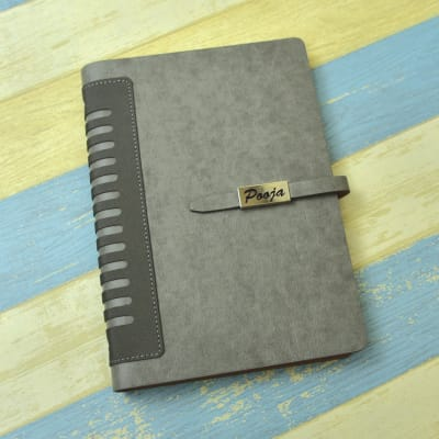 Personalized Executive Grey Leather Diary