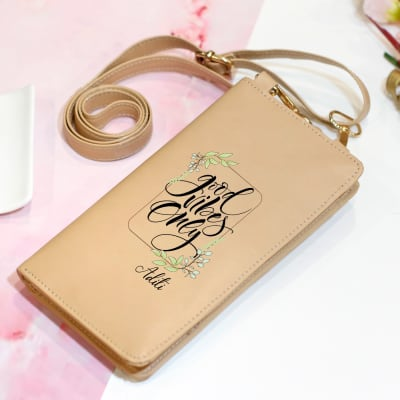 Personalized Faux Leather Mobile Sling Bag
