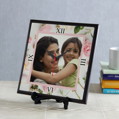 Personalized Floral Design Clock for Mom