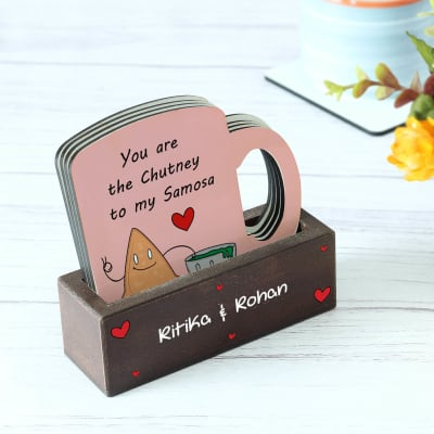 Personalized Foodie Love Quotes Coasters with Stand