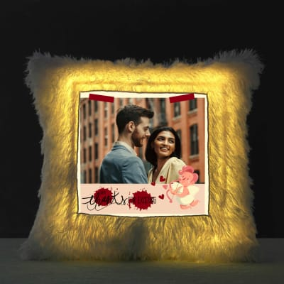Personalized Fur Photo Cushion with LED