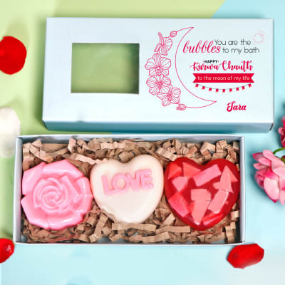 Personalized Gift Box of Love Soaps for Wife- Set of 3