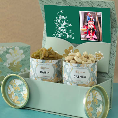 Personalized Gift Box with Dry Fruits & Xmas- New Year Greeting Card