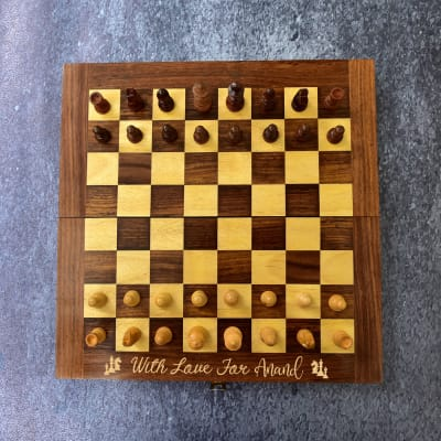 Personalized Handmade Foldable Sheesham Wood Chess Set