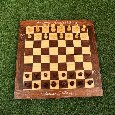 Personalized Handmade Sheesham Wood Chess for Anniversary