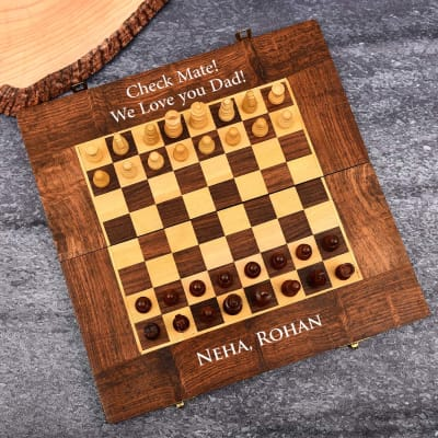 Personalized Handmade Sheesham Wood Chess for Father