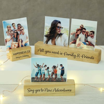 Personalized Handmade Wooden Photo Stand Set