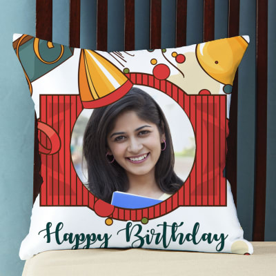 Personalized Happy Birthday Photo Cushion