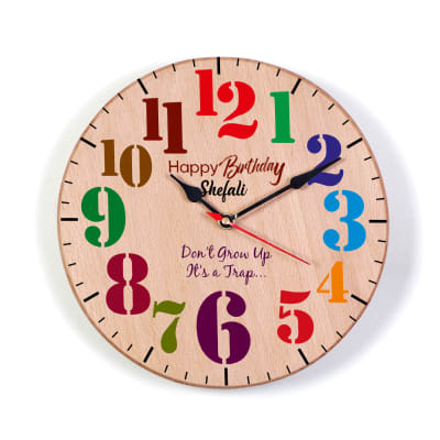Personalized Happy Birthday Wooden Wall Clock