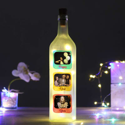 Personalized Happy New Year Led Bottle With Yellow Led