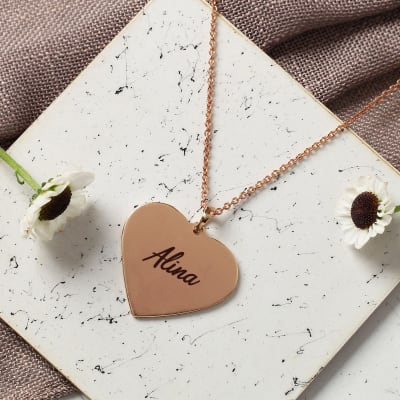 Personalized Heart Shaped Brass Pendant with Chain