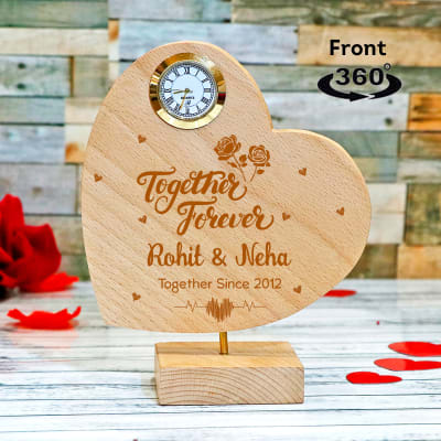 Personalized Heart Shaped Wooden Rotating Showpiece with Clock