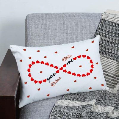 Personalized Infinity Heart Couple Canvas Pillow