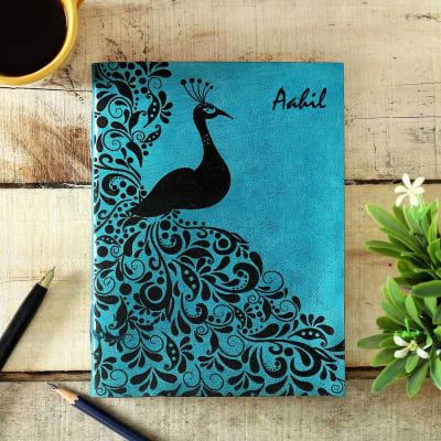 Personalized Journal in Blue Leather Cover