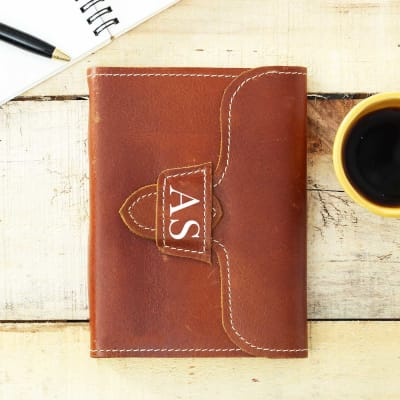 Personalized Journal in Brown Leather Cover