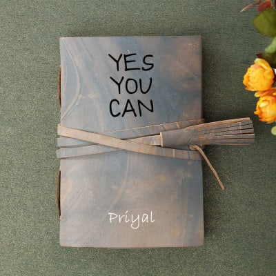 Personalized Journal with Leather Wrap
