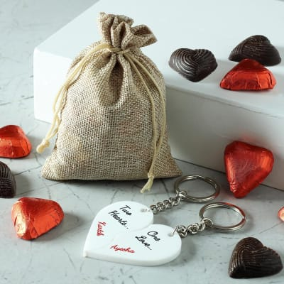 Personalized Keychains with Heart Shaped Chocolates in Potli