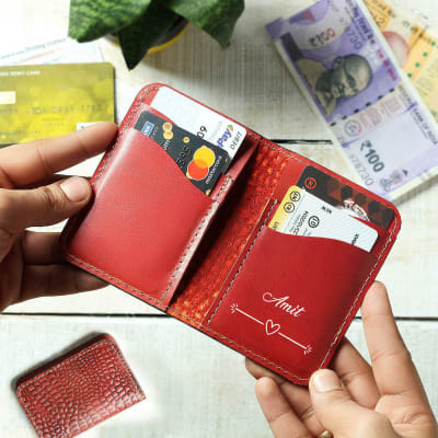 Personalized Leather Card Holder with Croc Embossing