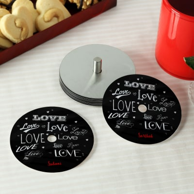 Personalized Love Records Coasters (Set of 8)