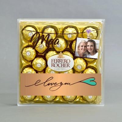 Personalized Love You Maa Delicious Ferrero Rocher 24 Pcs Chocolates Box