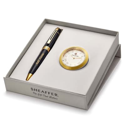 Personalized Luxury Pen and Table Clock Gift Set