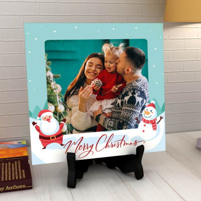 Personalized Merry Christmas Photo Tile with Stand