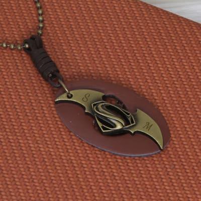 Personalized Metallic Superman vs Batman Pendant Necklace