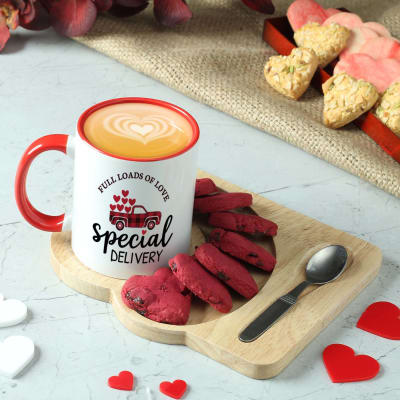 Personalized Mug and Heart Shaped Cookies in Wooden Tray
