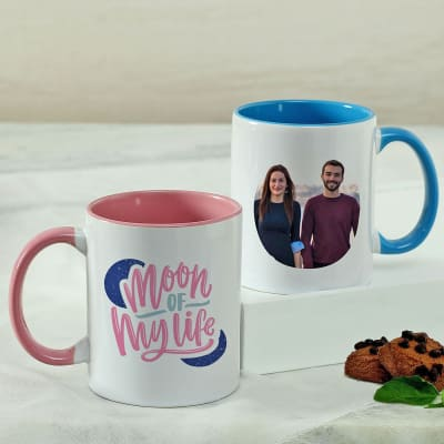 Personalized Mug Set with Blue & Pink Handles