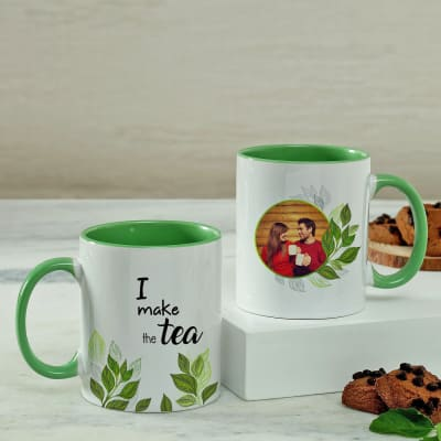 Personalized Mug Set with Green Handles