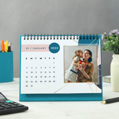 Personalized New Year Calendar in Turquoise