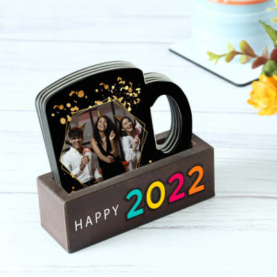 Personalized New Year Coasters with Stand