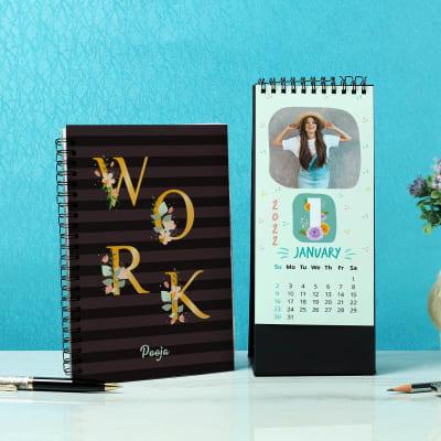 Personalized Notebook & 12 Leaf Calendar