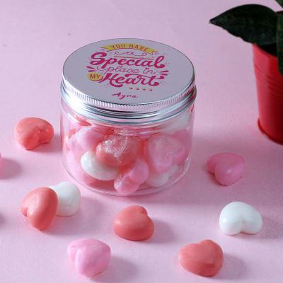 Personalized Nourishing Mini Hearts Soaps in Jar (30 Pcs)