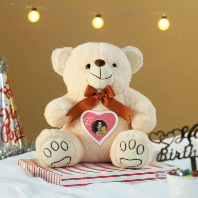 Personalized Off White Teddy Bear for Birthday